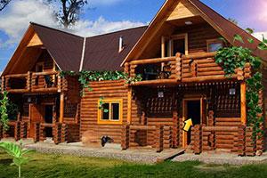 漂亮的木制别墅逃脱
